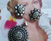 Vintage silver tone chunky bold clip on earrings and pendant Wedding Bridal