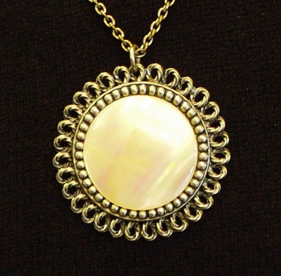 Vintage Silver & Mother-of-Pearl Necklace