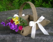 Brown burlap flower girl basket for rustic weddings