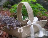 Handmade little burlap basket. Khaki / natural jute for rustic weddings.