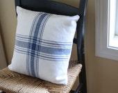 Nautical blue & white handwoven farmhouse plaid pillow cover. Handmade by Nutfield Weaver.