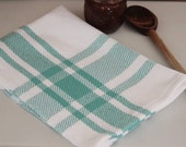 Handwoven farmhouse plaid kitchen towel in robins egg blue & white handmade by Nutfield Weaver