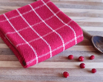Cranberry red windowpane plaid kitchen towel / dishtowel handwoven by Nutfield Weaver.