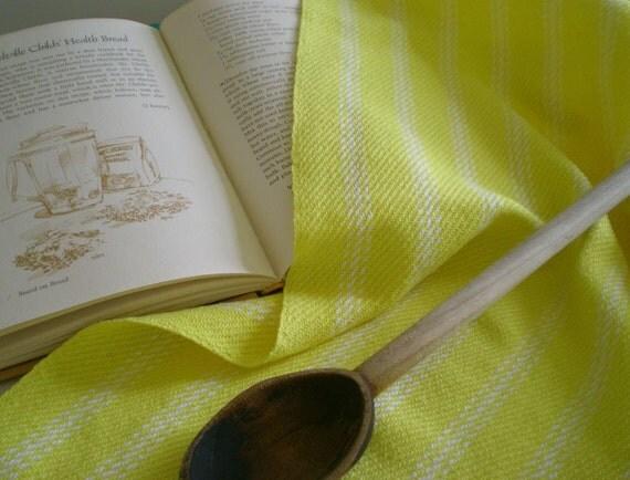 Big bright yellow handwoven kitchen towel