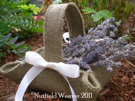 Handmade little brown burlap basket for rustic weddings