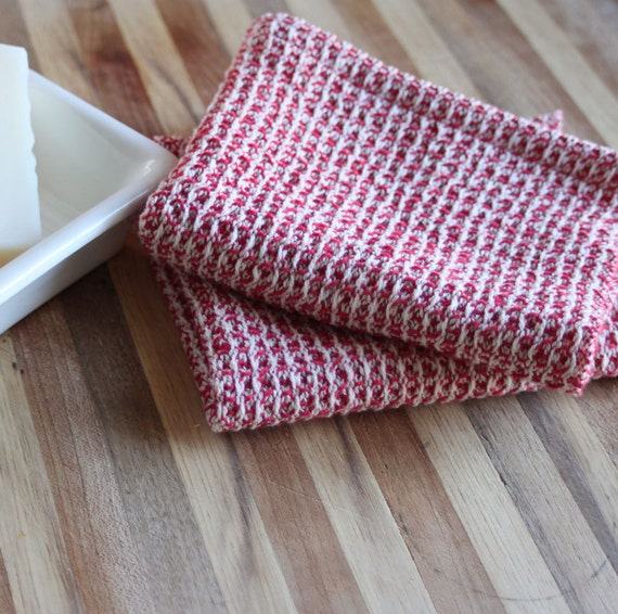 Handwoven waffleweave dishcloths - set of two - red and unbleached/natural cottons