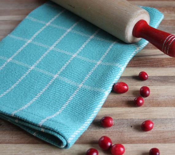 Handwoven robins egg blue & ivory windowpane plaid kitchen towel / dishtowel