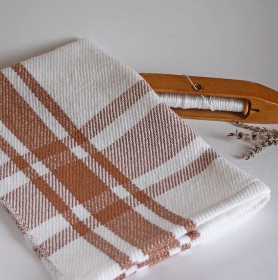 Mocha & white farmhouse plaid kitchen towel / dishtowel handwoven by Nutfield Weaver