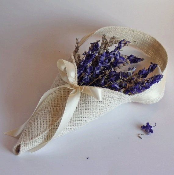 Ivory burlap petal cone / basket alternative for flower girls in your rustic wedding. Handmade by Nutfield Weaver.