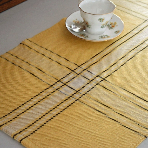 Handwoven sunflower plaid table runner in yellow, ivory, and chocolate brown cottons. Handmade by Nutfield Weaver.