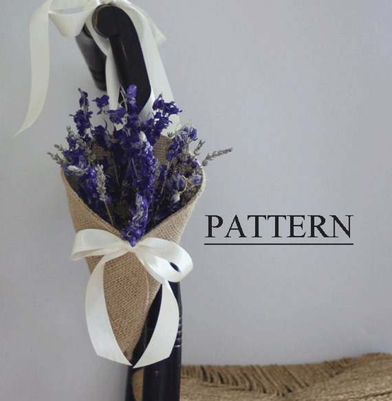 Burlap Cone with Tying Ribbons Sewing Pattern. Chair pew aisle decor. PDF ePattern for your DIY rustic wedding.