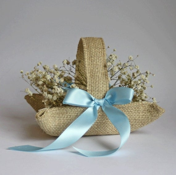 Little burlap basket. Khaki / natural jute with pale blue ribbon for rustic or beach weddings.