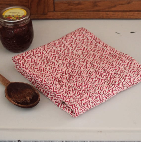 Handwoven kitchen towel / red & ivory zigzag twill handmade by Nutfield Weaver
