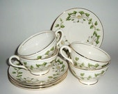 Vintage Dishes Cotillion by Homer Laughlin 1952 8 pc Set of 4 Teacups and Saucers