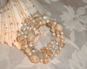 Vintage Bracelet Triple Strand Memory Wire in Pearly White and Beige Glass Beads