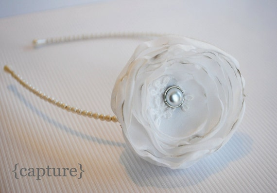 Beautiful Upcycled White Rose on Pearl Headband