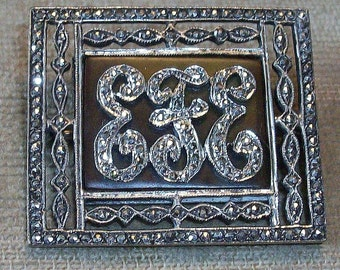 Vintage Marcasite and Sterling Pin Initials EFE