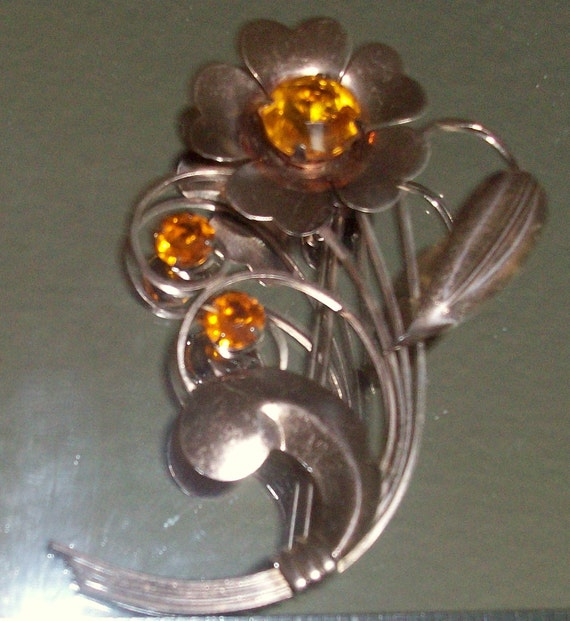 Vintage Truart Sterling Rose Gold Colored Rhinestone Floral Pin