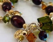 Pearl Bracelet  Freshwater Pearl Deep Red Champagne Sterling Silver Gold Green Crystals