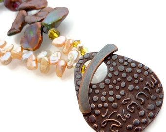 Front Clasp Keishi Pearl Necklace Shibuichi Brown Champagne Earthy Peace