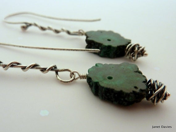 Green Malachite Earrings  Malachite Slice Gemstone Earrings Oxidized Sterling Silver Earrings Long Earrings - Vine