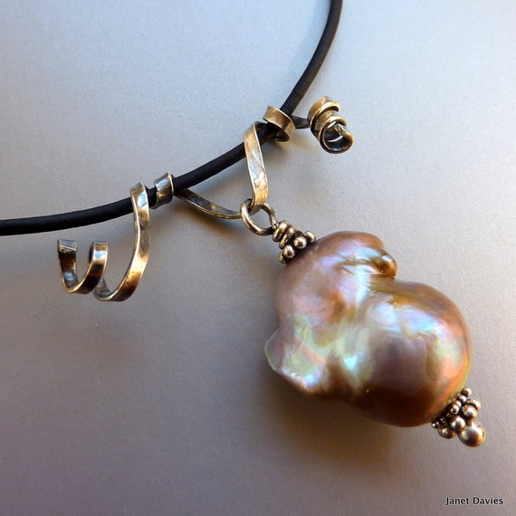 Freshwater Pearl Leather Necklace Sterling Silver Baroque Pearl