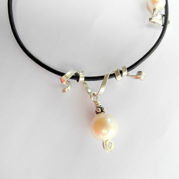 Leather Freshwater White Pearl Necklace Argentium Sterling Silver Ribbon