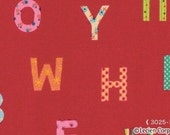 Red Alphabet Caramel Town Lecien Japanese Import Fabric 1 yard
