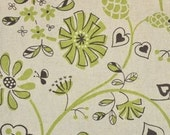 SALE Wildflowers in Green and Natural Isso Ecco and Heart Lecien Japanese Import Fabric 1 yard LAST YARD