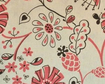 SALE Wildflowers in Pink and Natural Isso Ecco and Heart Lecien Japanese Import Fabric 1 yard