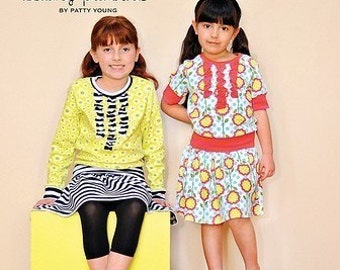 Maya Modkid Boutique Sewing Pattern sizes 2T - 8  Shirt, Yoga Skirt and Dress options