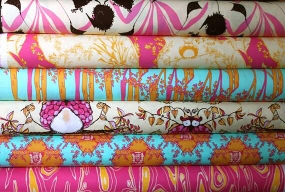Year End SALE Pink Opal Owl Tina Givens Fabric Full Yard Bundle 6 yd Set