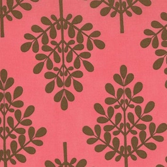 TWILL Trees in Raspberry Fudge Its a Hoot Fabric by Momo for Moda 32377-26T, 1 yard Last One