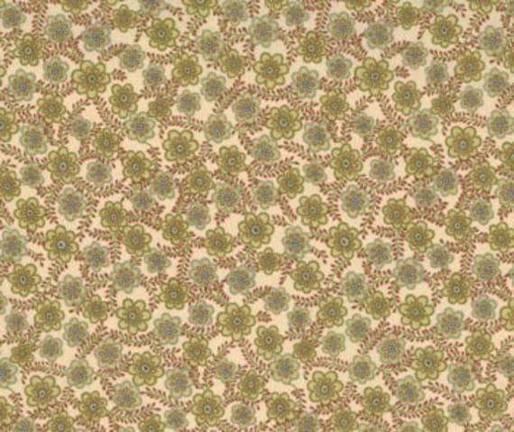 SALE Flowers Flax Kashmir II Fabric 1 yard