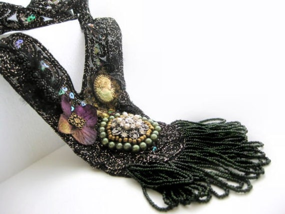 Statement necklace, black lace neckace with hand beading, embroidery and bead fringe