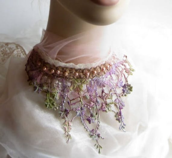 Sale - Lace Necklace with hand painted flower lace and glass pearls, statement bib necklace