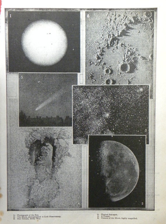 1925 Print of Photos of the Sun Moon and Stars