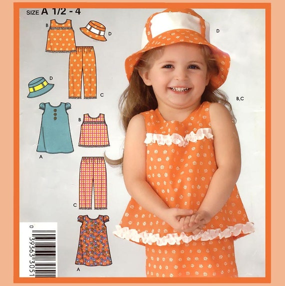 305 Girls Easy Dress, Top, Pants & Hat, Childs sizes 1/2, 1, 2, 3, 4 Sewing Pattern, Uncut Simplicity 2684
