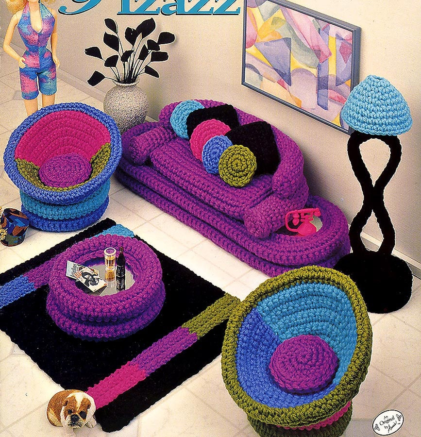 Fashion Doll Home Decor Crochet Parlor Pizazz Livingroom