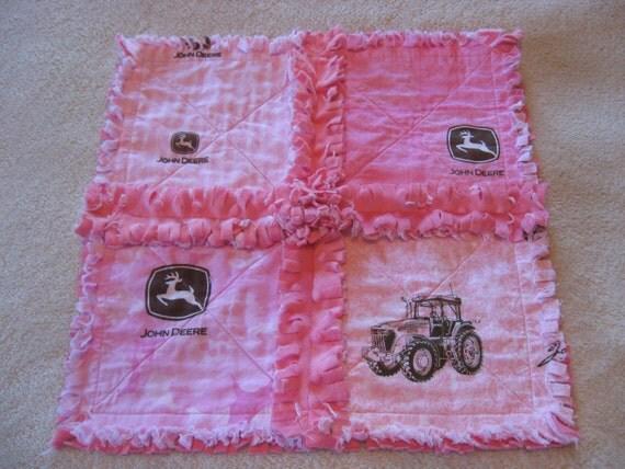 Pink and Brown John Deere Baby Girl Mini Rag Quilt Security Blanket Burpie