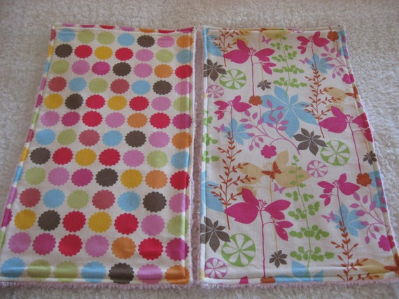 2  Baby Girl Burp Cloths With Chenille Backing