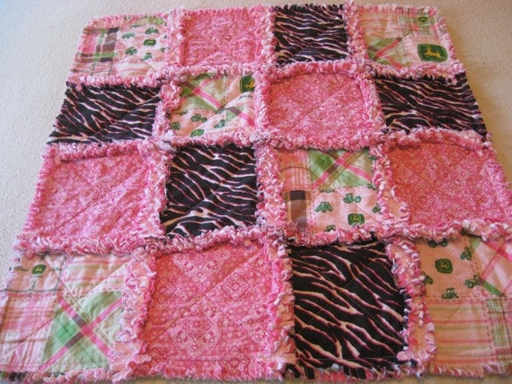 Pink and Green John Deere Baby Girl Rag Quilt Blanket