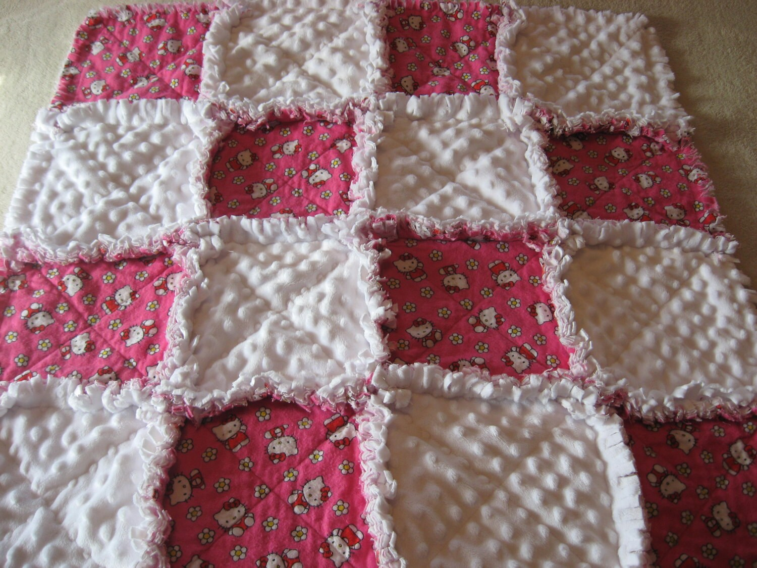 Hello Kitty Baby Girl Rag Quilt Blanket With Minky