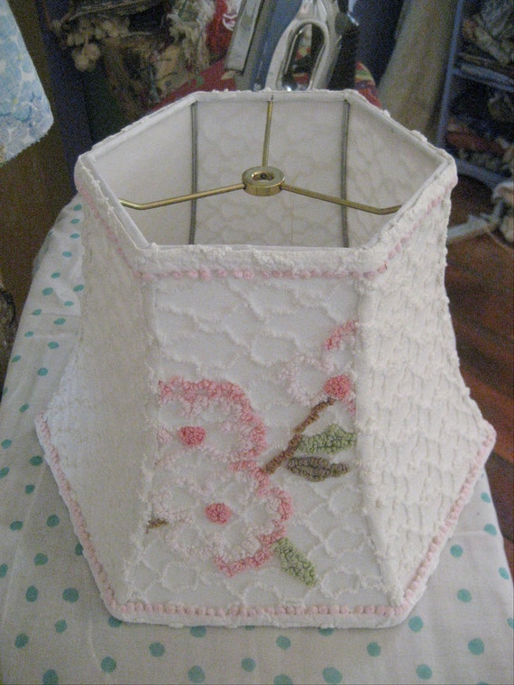 Sweet Floral Vintage Chenille Lampshade