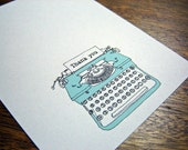 "Typewriter Cards - Set of 10 ""thank you"" Notecards"