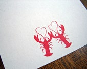 Lobster Love Cards - Set of 10 Noteflat cards - recycled paper