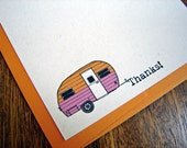 Little Camper Cards - set of 12 Noteflat cards - recycled paper