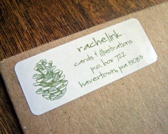 Pine Cone - return address label stickers - set of 60