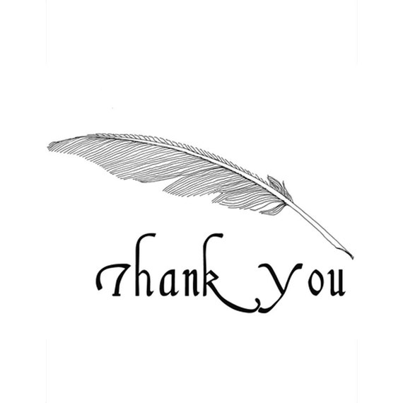 Quill Pen - thank you, set of 12 noteflats
