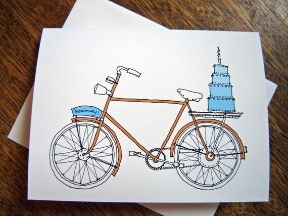 SALE Hooray Bike Card - birthday celebration